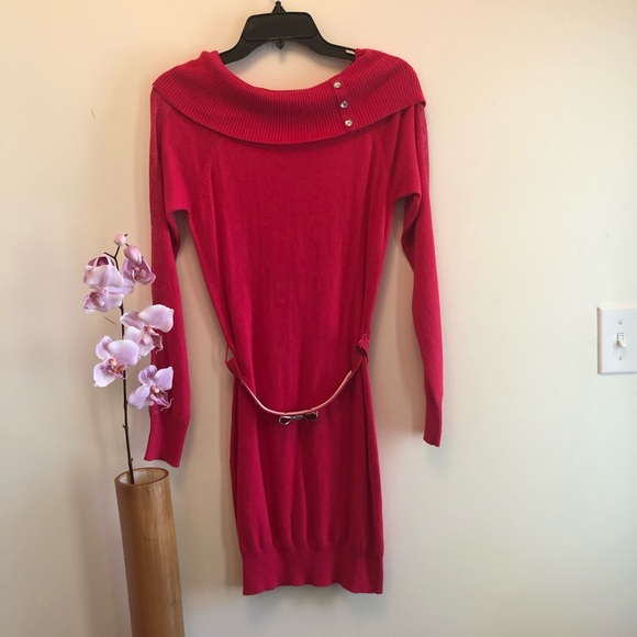s-blk-44-3 Candies Junior Sweater Dress Medium Red Retail $48